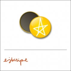 Scrapbook and More 1 inch Round Flair Badge Button Yellow Star by Elise Blaha Cripe