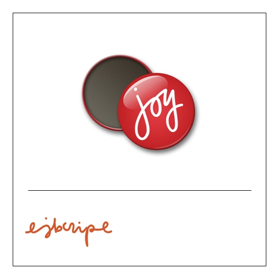 Scrapbook and More 1 inch Round Flair Badge Button Red Joy by Elise Blaha Cripe