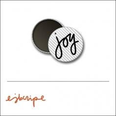 Scrapbook and More 1 inch Round Flair Badge Button White Black Diagonal Stripe Joy by Elise Blaha Cripe