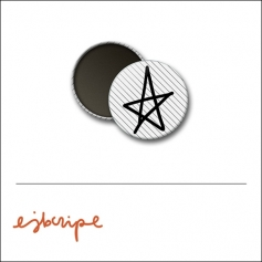 Scrapbook and More 1 inch Round Flair Badge Button White Black Diagonal Stripe Star by Elise Blaha Cripe