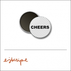 Scrapbook and More 1 inch Round Flair Badge Button White Black Diagonal Stripe Cheers by Elise Blaha Cripe