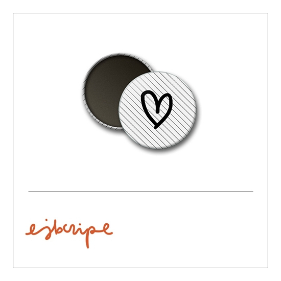 Scrapbook and More 1 inch Round Flair Badge Button White Black Diagonal Stripe Heart by Elise Blaha Cripe