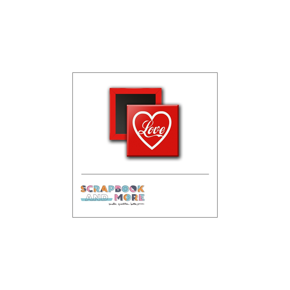 Scrapbook and More 1 inch Square Flair Badge Button Red Heart Love