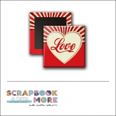 Scrapbook and More 1 inch Square Flair Badge Button Red Seal Happy Valentines Day