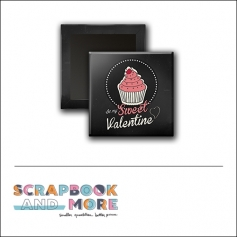 Scrapbook and More 1 inch Square Flair Badge Button Black Cupcake Sweet Valentine