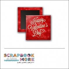 Scrapbook and More 1 inch Square Flair Badge Button Red Happy Valentines Day