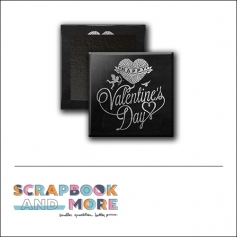 Scrapbook and More 1 inch Square Flair Badge Button Black Cupid Happy Valentines Day