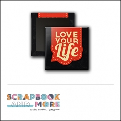 Scrapbook and More 1 inch Square Flair Badge Button Black Red Love Your Life