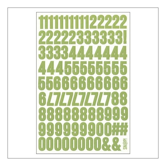 Simple Stories Number Sticker Sheet Light Green Snap Life Documented Collection