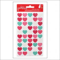 Pebbles Glitter Heart Stickers We Go Together Collection