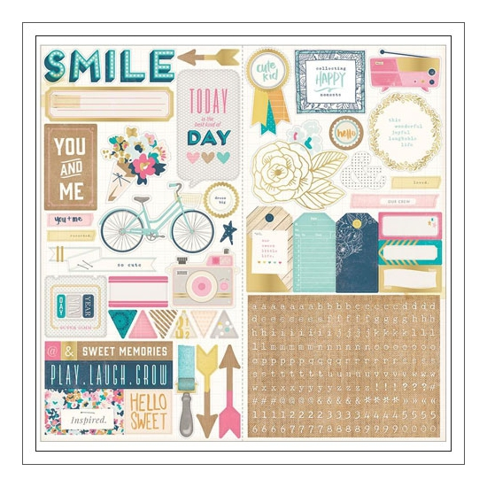Crate Paper Accent Stickers Craft Market Collection