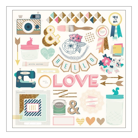 Crate Paper Chipboard Shapes Stickers Craft Market Collection