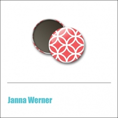 Scrapbook and More 1 inch Round Flair Badge Button Red Brocade by Janna Werner
