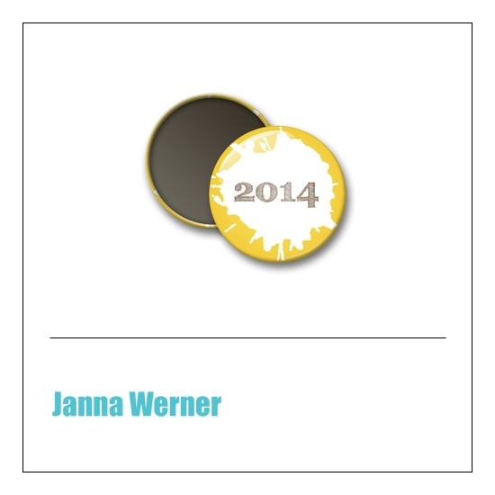 Scrapbook and More 1 inch Round Flair Badge Button Yellow 2014 by Janna Werner