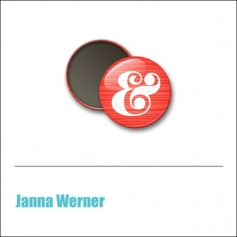 Scrapbook and More 1 inch Round Flair Badge Button Red Ampersand by Janna Werner