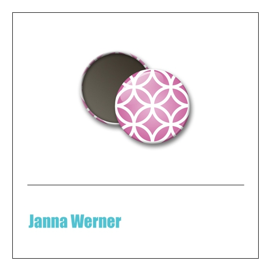 Scrapbook and More 1 inch Round Flair Badge Button Pink Brocade by Janna Werner