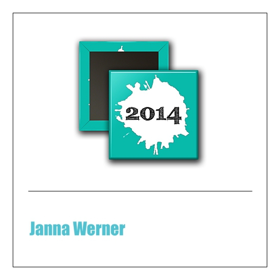 Scrapbook and More 1 inch Square Flair Badge Button Teal 2014 by Janna Werner