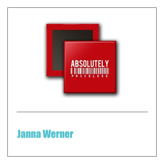 Scrapbook and More 1 inch Square Flair Badge Button Red Absolutely by Janna Werner