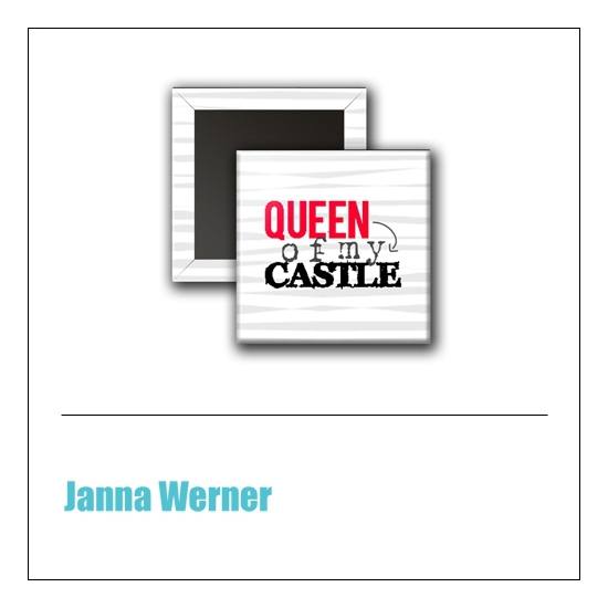 Scrapbook and More 1 inch Square Flair Badge Button Red Queen Of My Castle by Janna Werner