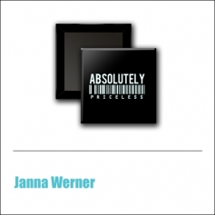 Scrapbook and More 1 inch Square Flair Badge Button Black Absolutely by Janna Werner