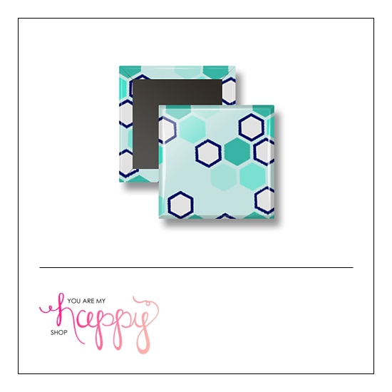 Scrapbook and More 1 inch Square Flair Badge Button Hexagons by Gentry Bartholomew