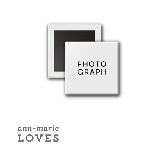 Scrapbook and More 1 inch Square Flair Badge Button White Photograph by Ann-Marie Loves