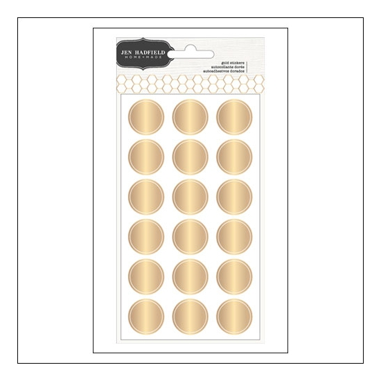 Pebbles Round Gold Foil Stickers Living Collection by Jen Hadfield