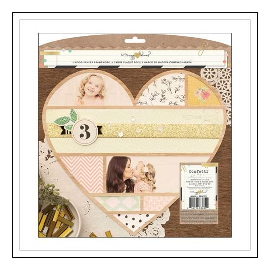 Crate Paper Wood Veneer Framework Heart Confetti Collection by Maggie Holmes