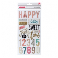 Crate Paper Thicker Stickers Printed Chipboard Phrases Celebrate Confetti Collection by Maggie Holmes