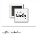 Scrapbook and More 1 inch Square Flair Badge Button White Hello Winter by Jen Kinkade