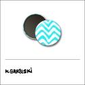 Scrapbook and More 1 inch Round Flair Badge Button Blue Chevron by Kal Barteski