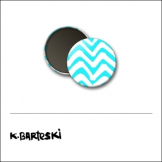 Scrapbook and More 1 inch Round Flair Badge Button Blue Chevron by Kal Barteski