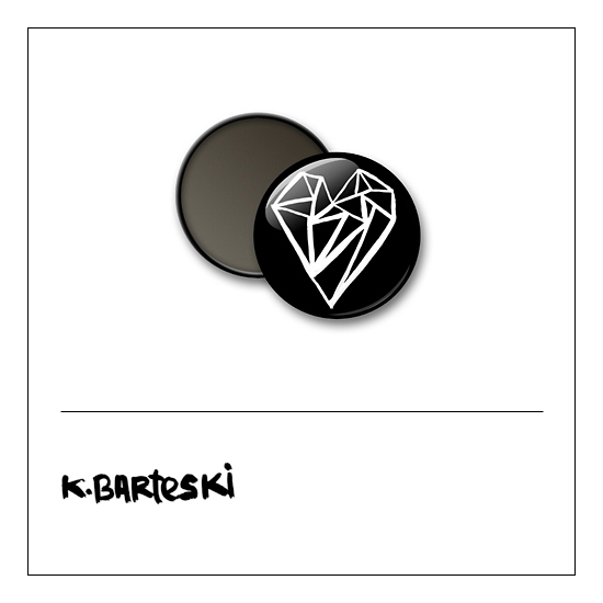 Scrapbook and More 1 inch Round Flair Badge Button Black Heart by Kal Barteski