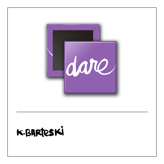 Scrapbook and More 1 inch Square Flair Badge Button Purple Dare by Kal Barteski