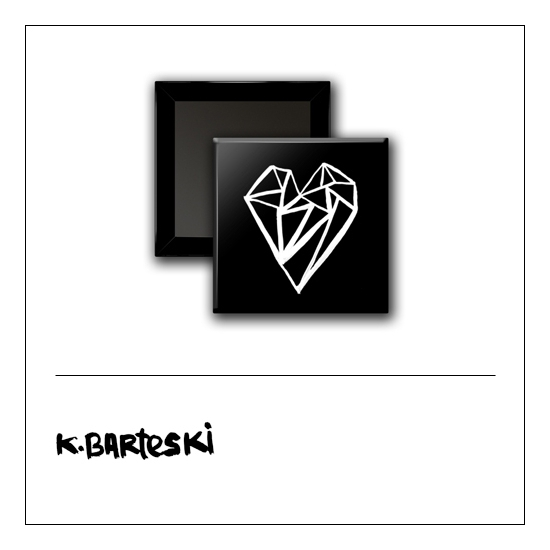 Scrapbook and More 1 inch Square Flair Badge Button Black Heart by Kal Barteski