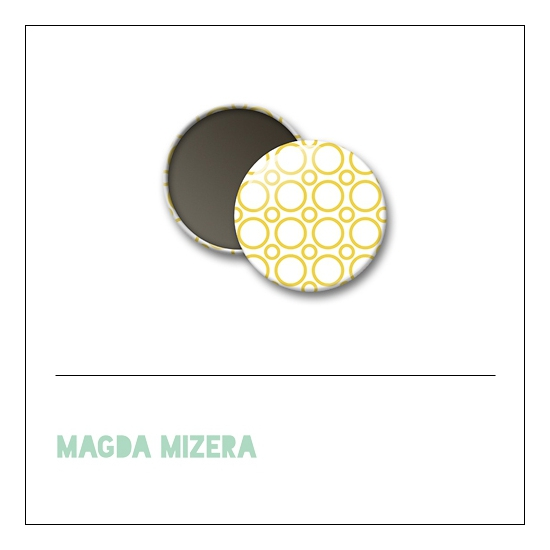Scrapbook and More 1 inch Round Flair Badge Button Yellow Circles by Magda Mizera