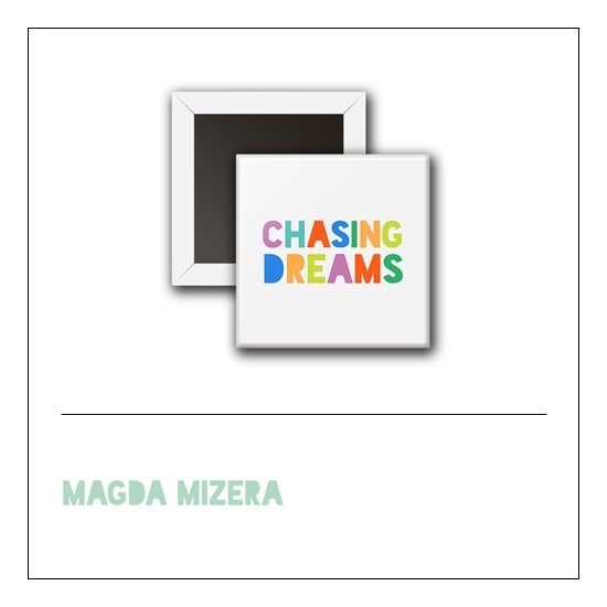 Scrapbook and More 1 inch Square Flair Badge Button Chasing Dreams by Magda Mizera