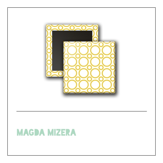 Scrapbook and More 1 inch Square Flair Badge Button Yellow Circles by Magda Mizera
