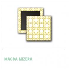 Scrapbook and More 1 inch Square Flair Badge Button Yellow Circles by Magda Mizera