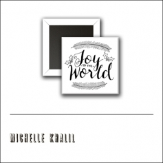 Scrapbook and More 1 inch Square Flair Badge Button White Joy To The World by Michelle Khalil