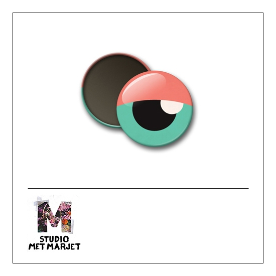 Scrapbook and More 1 inch Round Flair Badge Button Eye by Studio Met Marjet