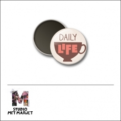 Scrapbook and More 1 inch Round Flair Badge Button Daily Life by Studio Met Marjet