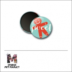Scrapbook and More 1 inch Round Flair Badge Button Sweet by Studio Met Marjet