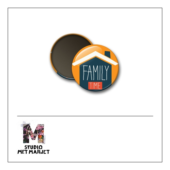 Scrapbook and More 1 inch Round Flair Badge Button Family Time by Studio Met Marjet