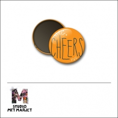 Scrapbook and More 1 inch Round Flair Badge Button Cheers by Studio Met Marjet