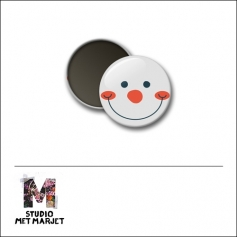 Scrapbook and More 1 inch Round Flair Badge Button Snowman by Studio Met Marjet