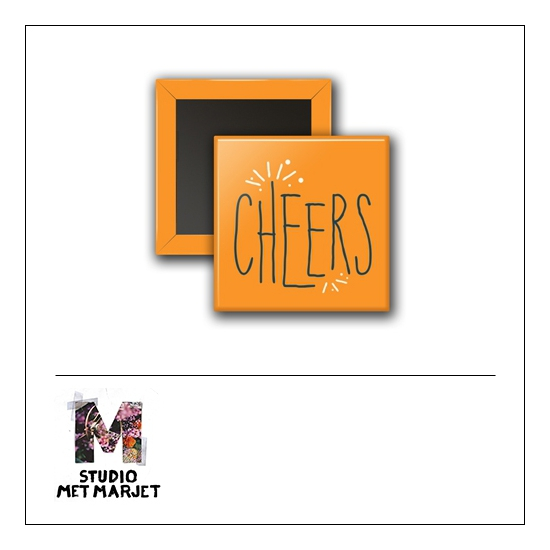 Scrapbook and More 1 inch Square Flair Badge Button Cheers by Studio Met Marjet