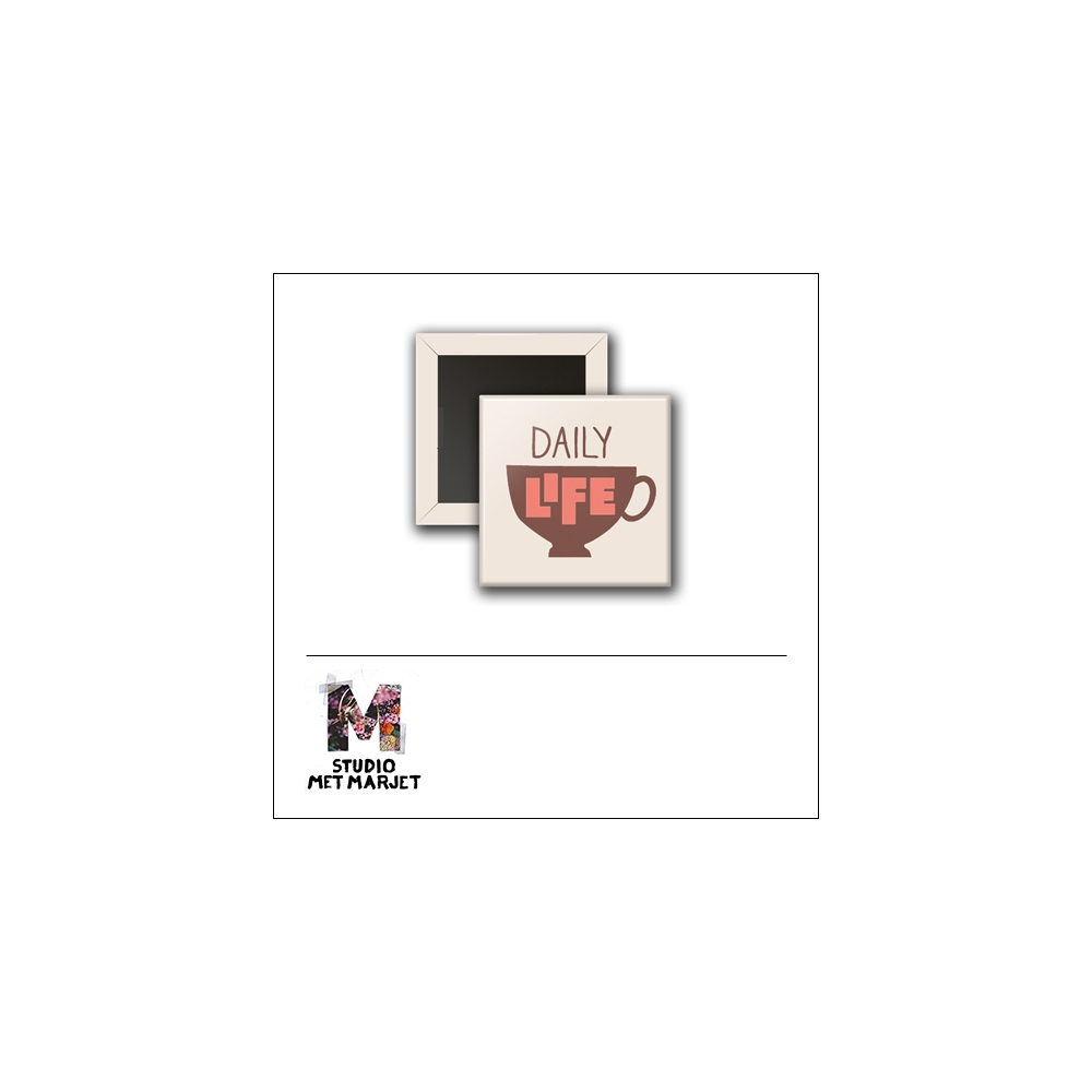 Scrapbook and More 1 inch Square Flair Badge Button Daily Life by Studio Met Marjet
