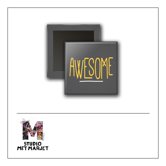 Scrapbook and More 1 inch Square Flair Badge Button Awesome by Studio Met Marjet