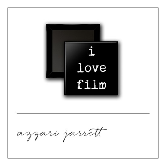 Scrapbook and More 1 inch Square Flair Badge Button I Love Film by Azzari Jarrett